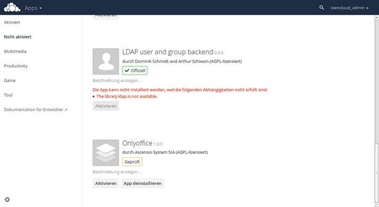 Installieren der OwnCloud ONLYOFFICE Integration App